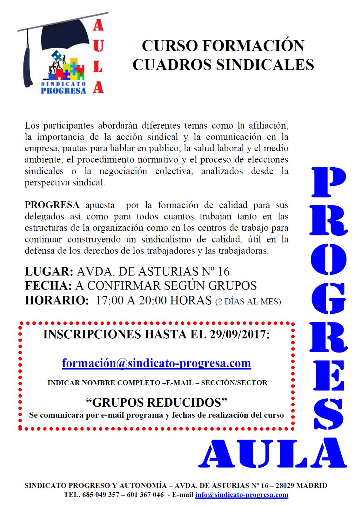 CURSO PARA AFILIADOS – FORMACIÓN DE CUADROS SINDICALES